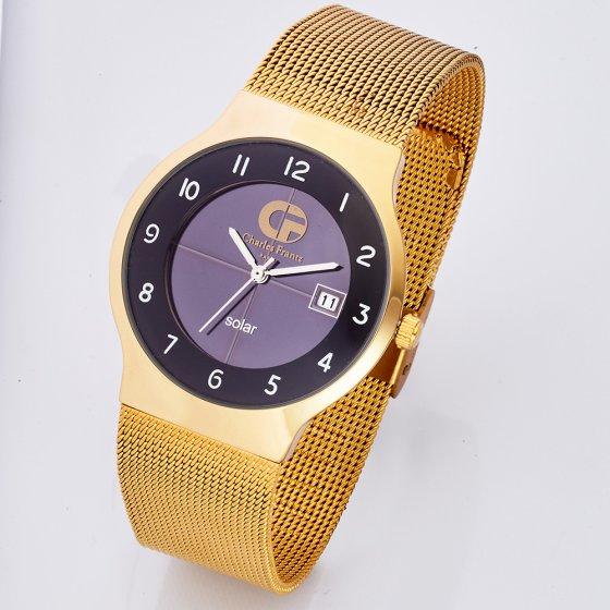 "Flat soldrevet ""Gold""-armbåndsur"