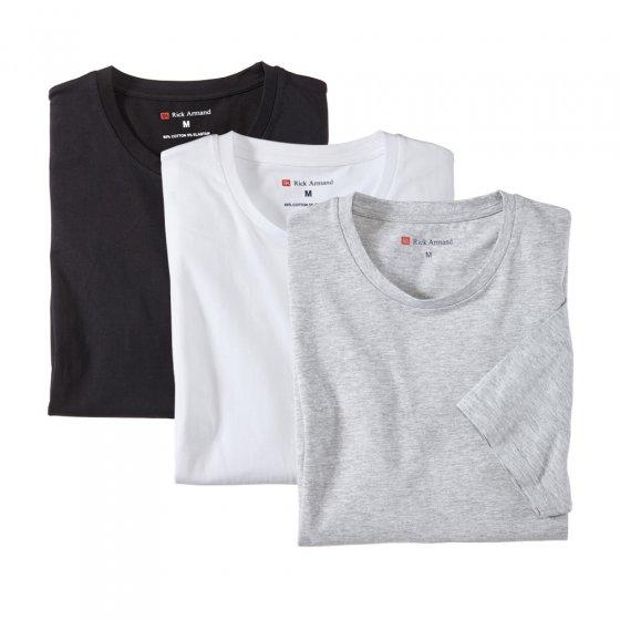 T-skjorte i stretch-kvalitet i 3-pakning