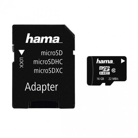 Minnekort med 16GB MicroSDHC + lader