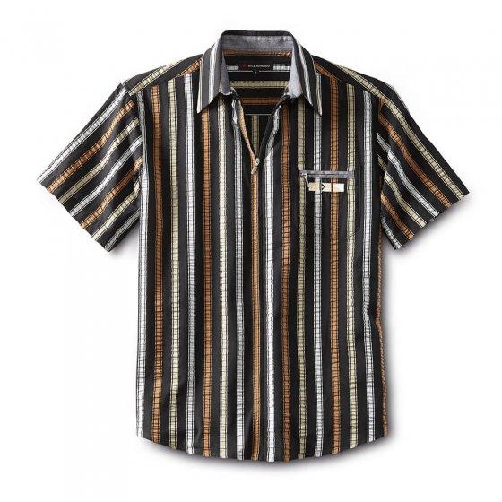 Seersucker-skjorte med glidelås