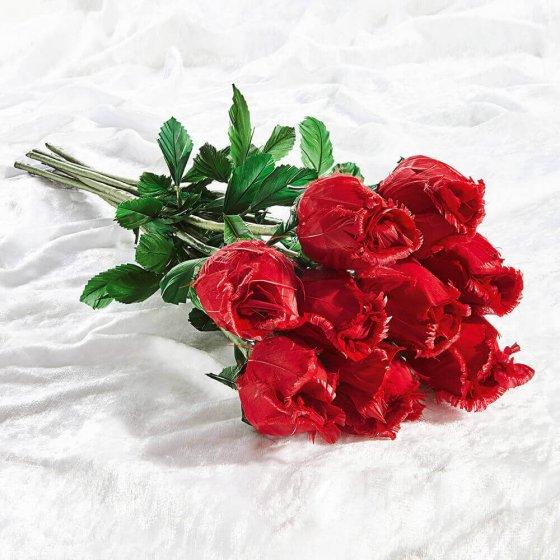 Håndlagde roser av gåsefjær